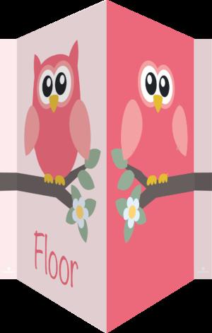 geboortebord uil roze