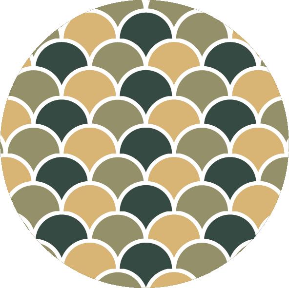 muurcirkel patroon groen schub