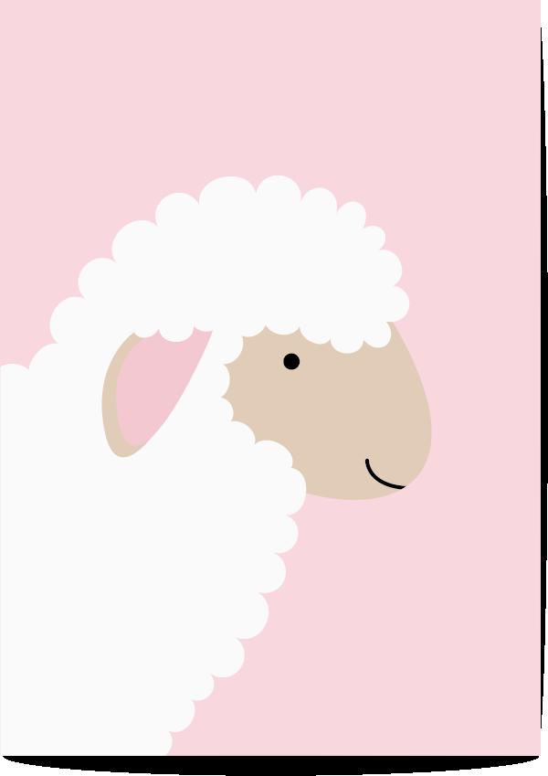 poster schaap roze
