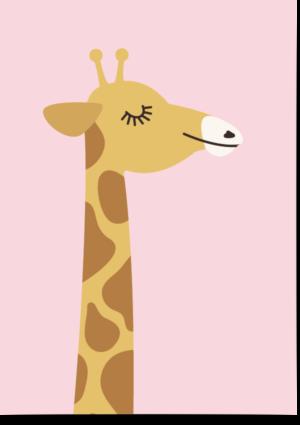 poster giraf roze