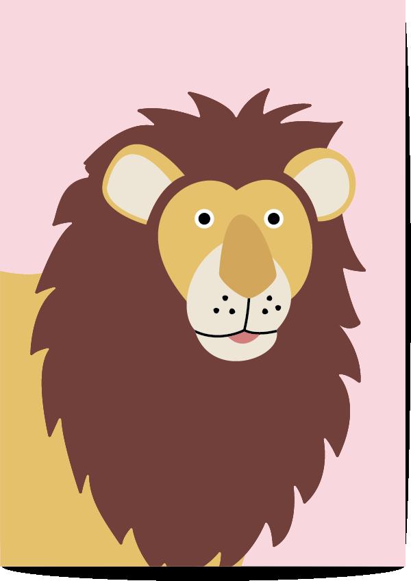 poster leeuw roze
