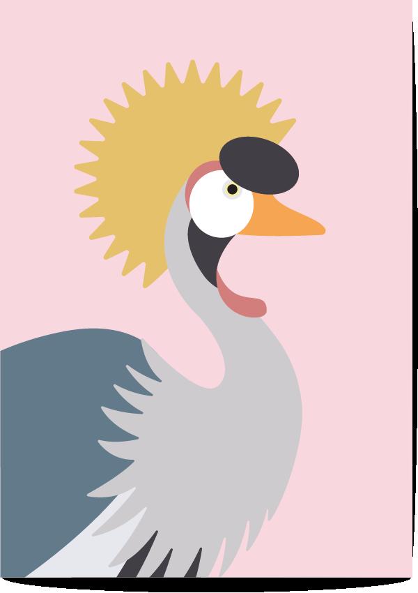 Poster kraanvogel roze