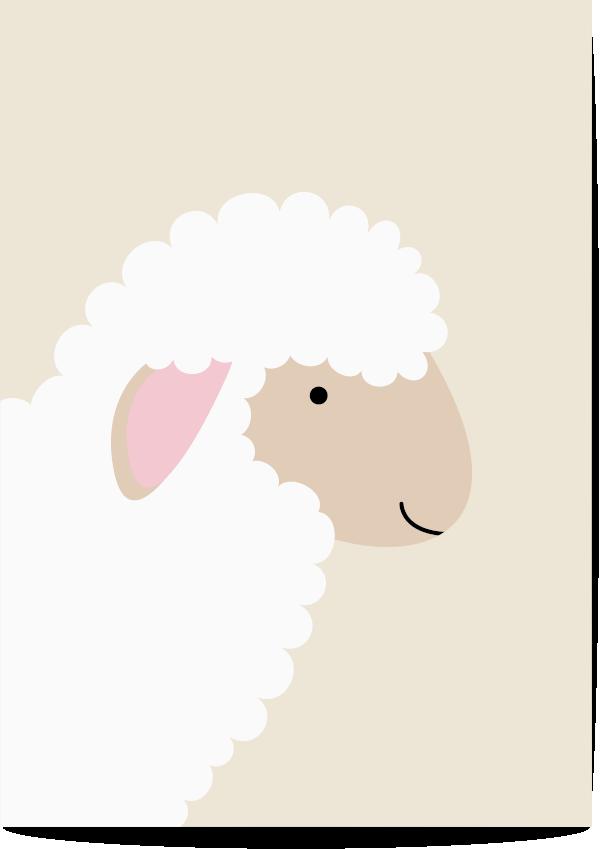 poster schaap beige