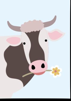 poster koe blauw