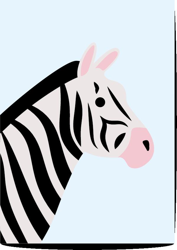 poster zebra blauw