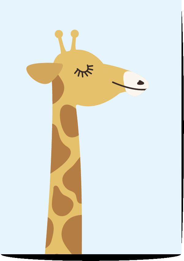 poster giraf blauw