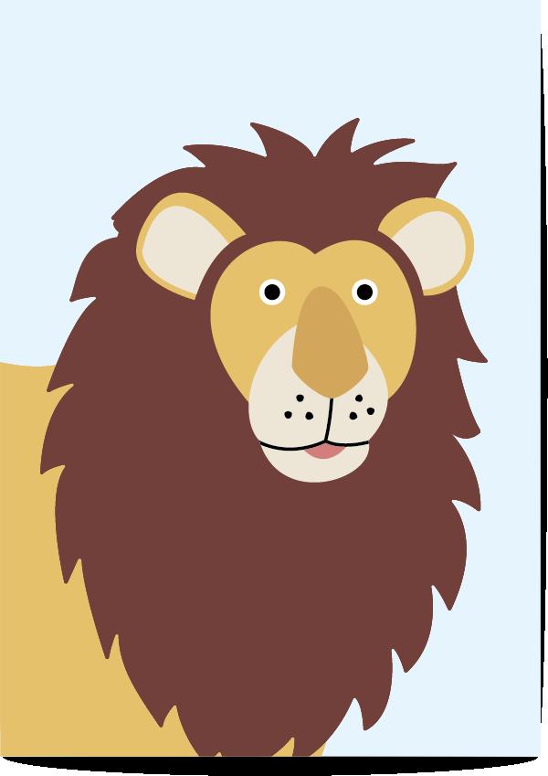 poster leeuw blauw