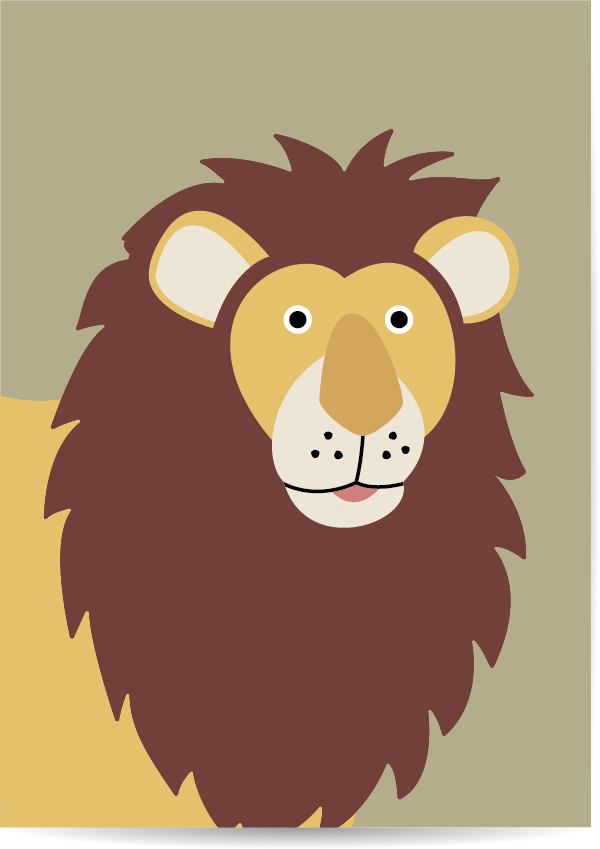 poster leeuw groen