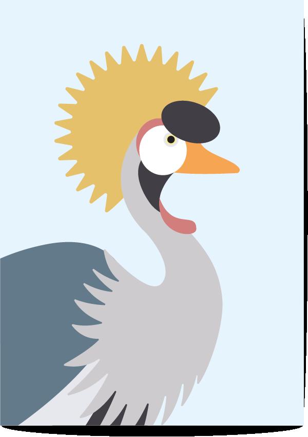 poster kraanvogel blauw
