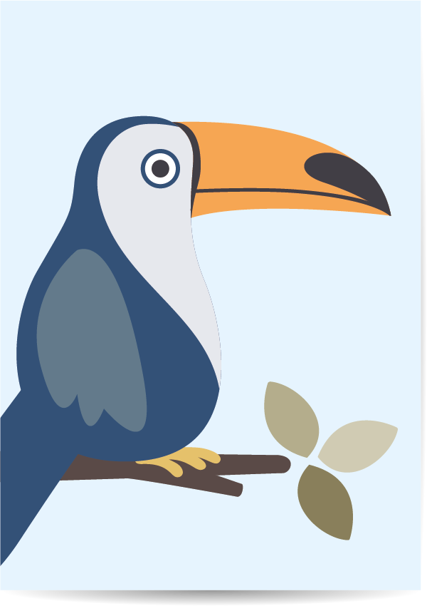 poster toekan blauw