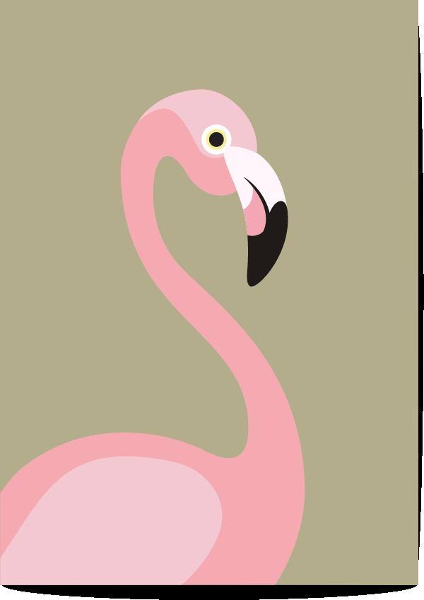 poster flamingo groen